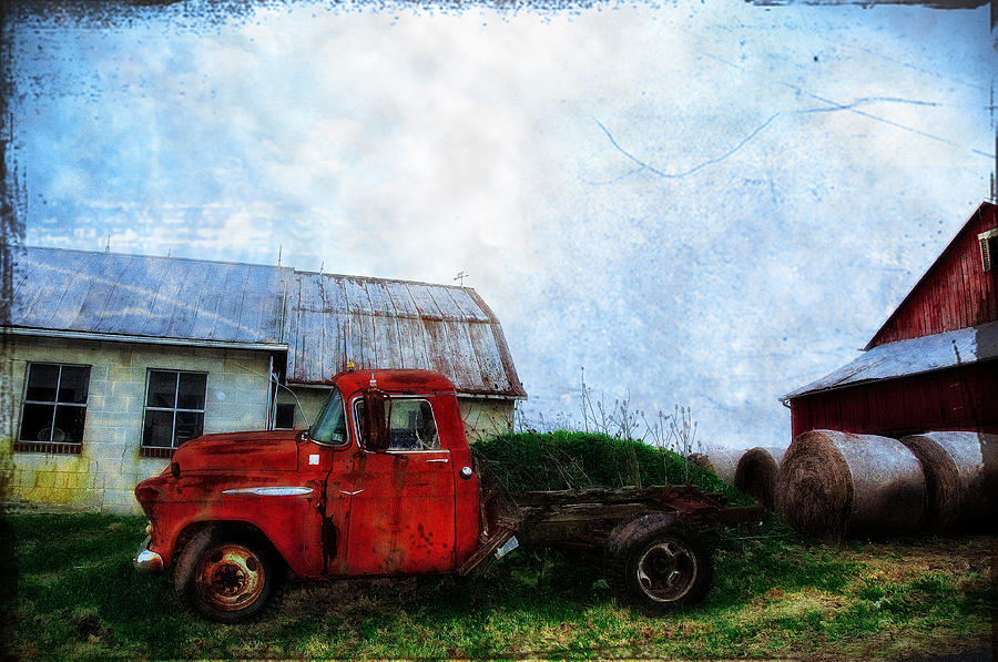 Red Photograph - Red Farm Truck by Bill Cannon