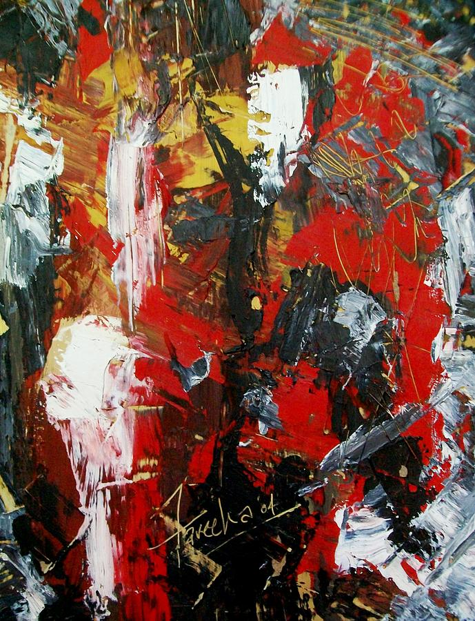 Abstract Painting - Red Fascism  by Fareeha Khawaja