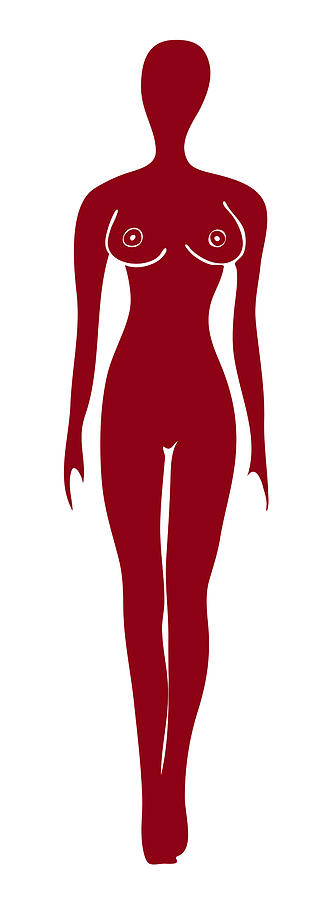 Red Painting - Red Female Silhouette by Frank Tschakert