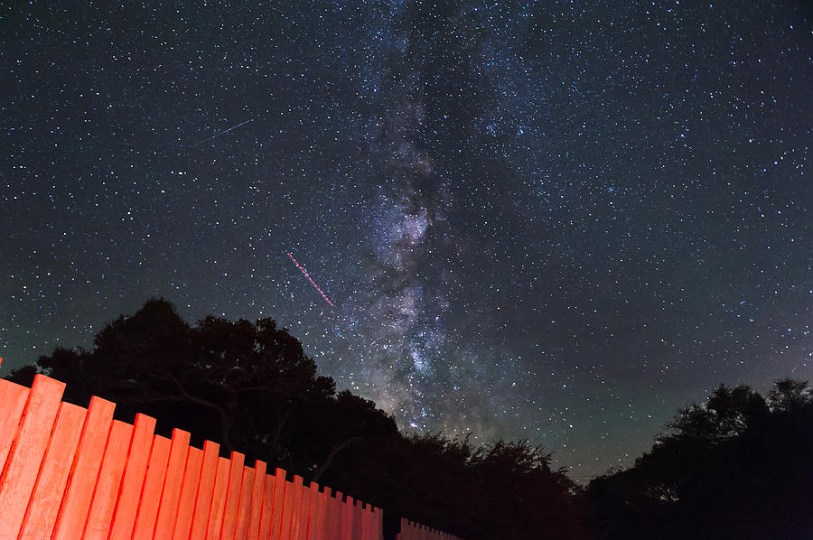 Milky Way Photograph - Red Fence Milky Way by Rick Felty