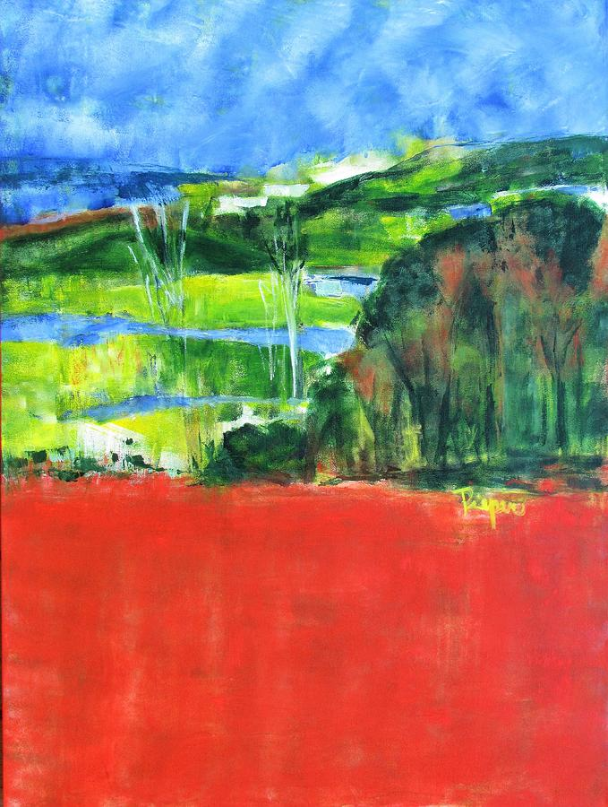 Red Field and Green Trees by Betty Pieper