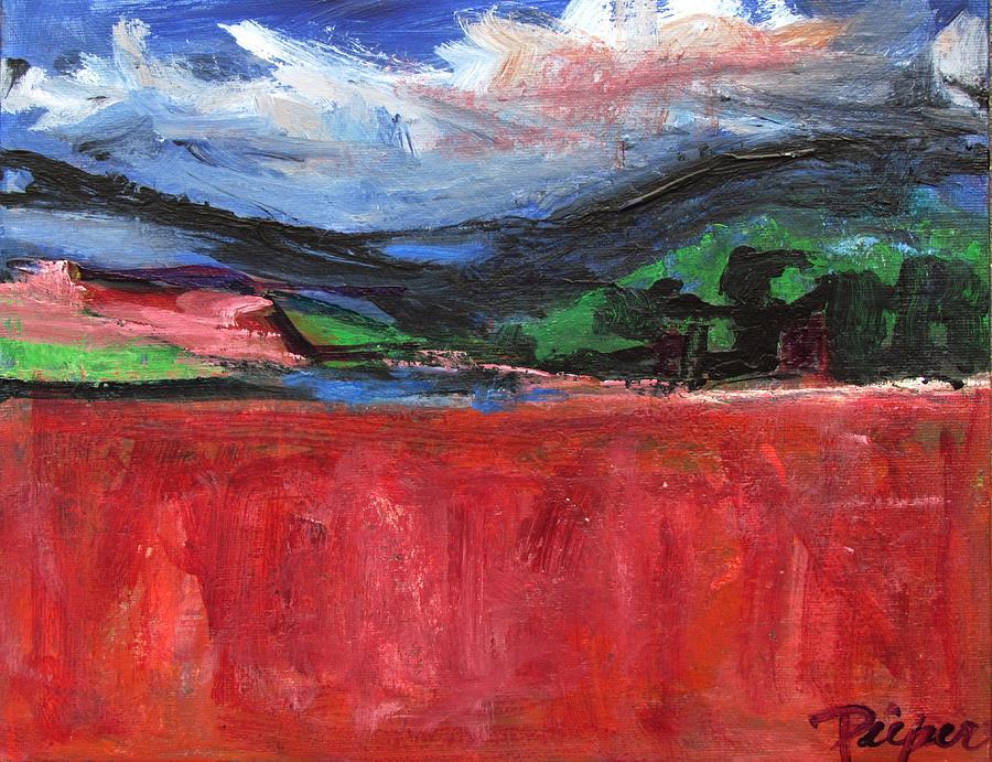 Red Field Landscape by Betty Pieper