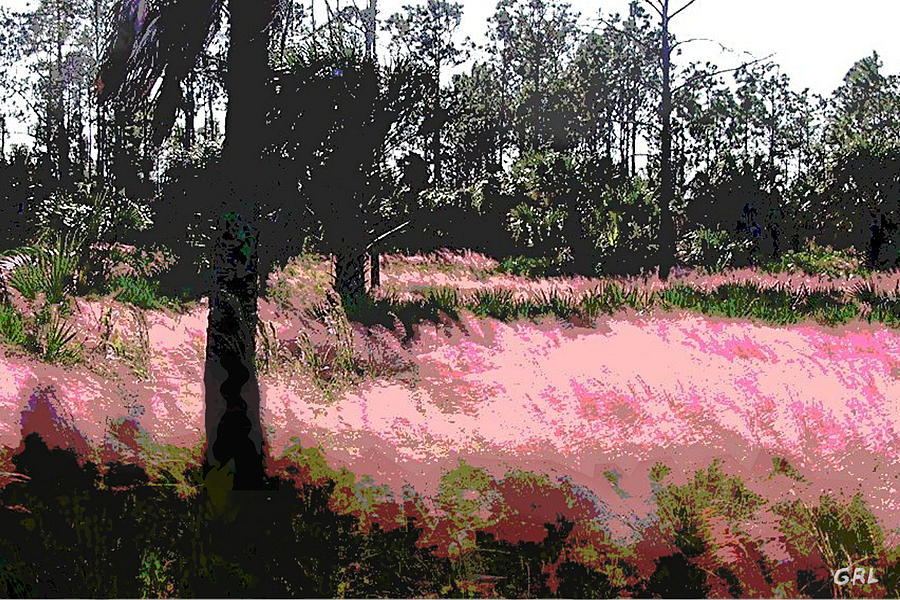 Landscapes Painting - Red Fire Grass Field Gulf Coast Florida Detail by G Linsenmayer