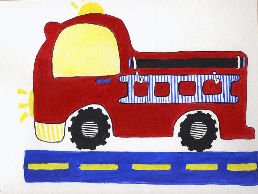Fire Truck Painting - Red Fire Truck by Christine Quimby