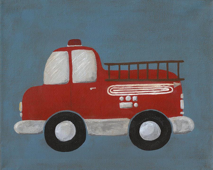 Firetruck Painting - Red Fire Truck Nursery Art by Katie Carlsruh