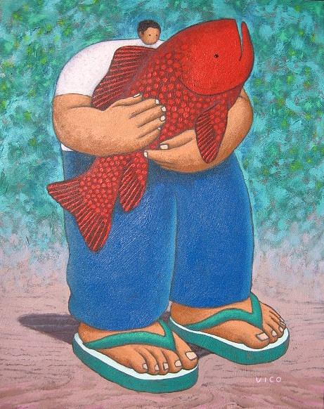 Acrylic Painting - Red Fish And Blue Trousers. by Vico Vico