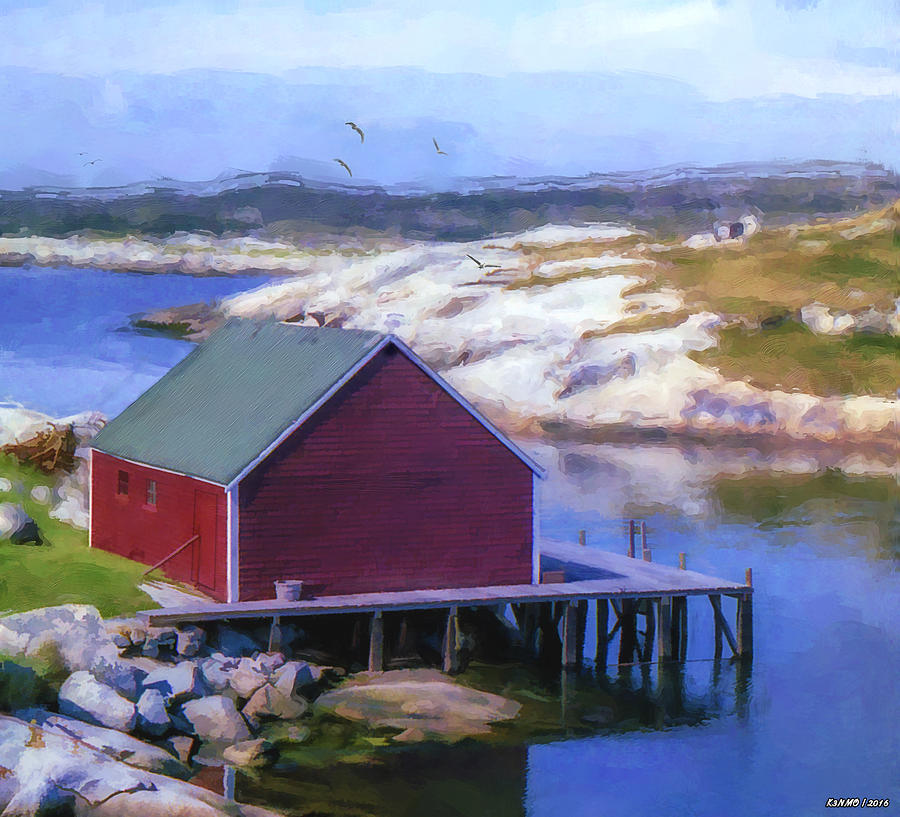 Fishing Painting - Red Fishing Shed On The Cove by Ken Morris