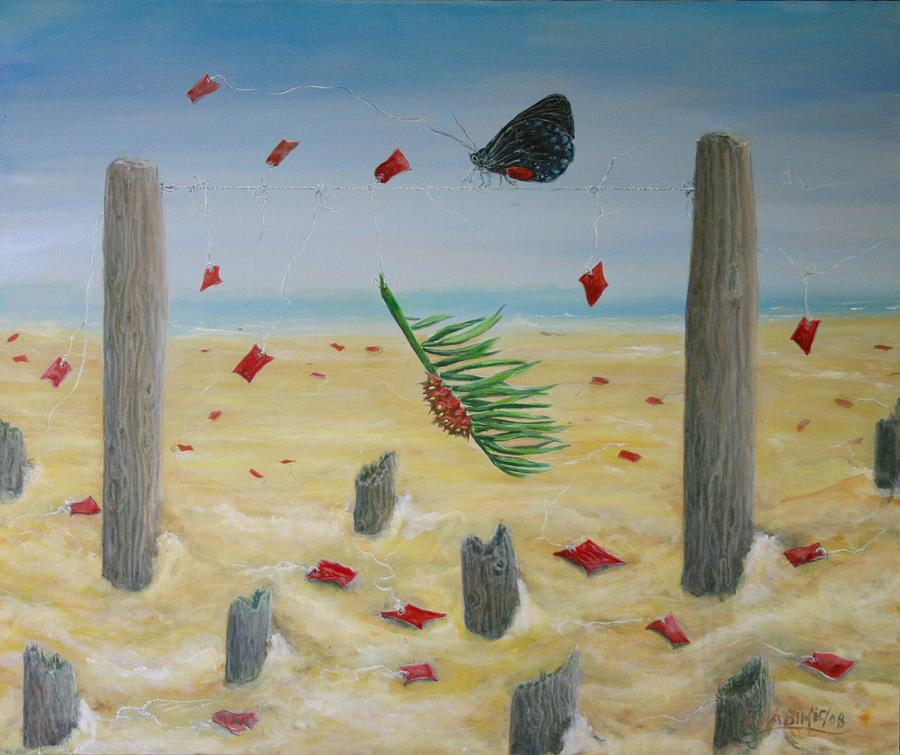 Butterfly Painting - Red Flag by Ana Bikic