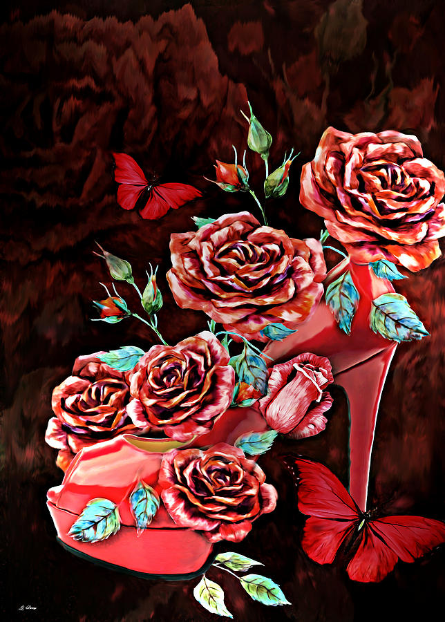 Foot Wear Mixed Media - Red Floral Heels by G Berry