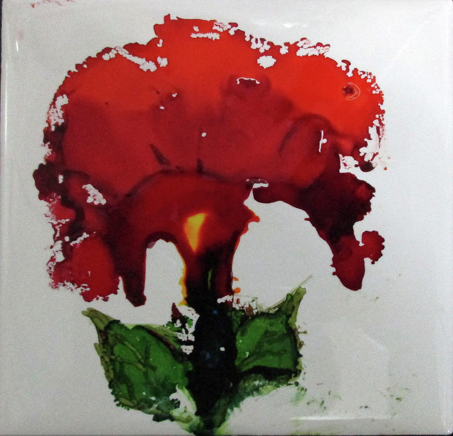 Alcohol Ink Painting - Red Flower by Liberty Dickinson
