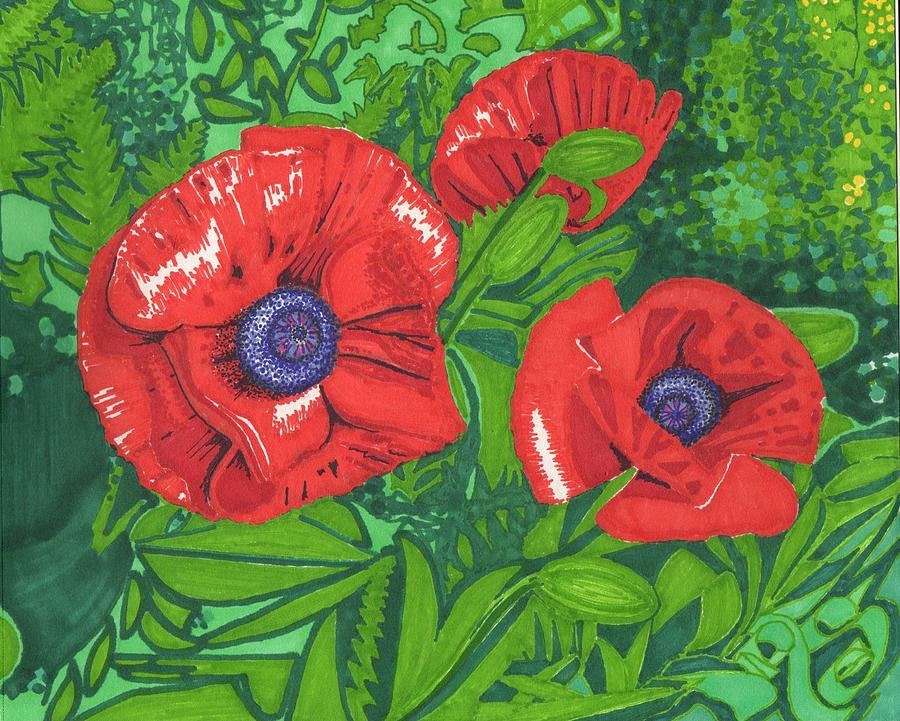 Flower Drawing - Red Flower by Will Stevenson