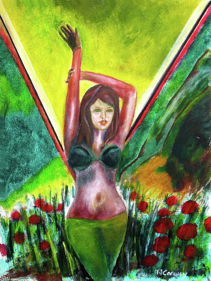 Flowers Painting - Red Flowers And The Girl In Green by Tom Conway
