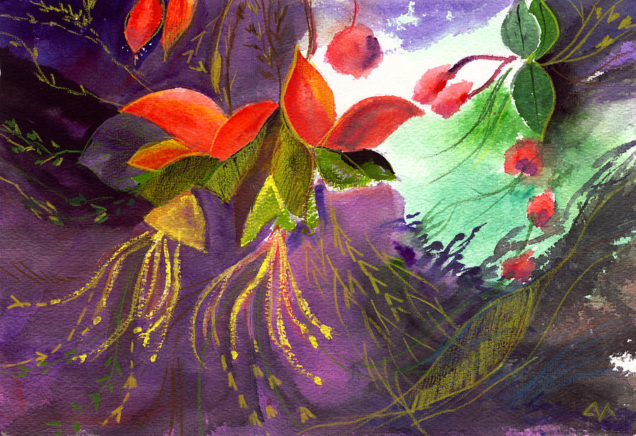 Flower Painting - Red Flowers by Anil Nene