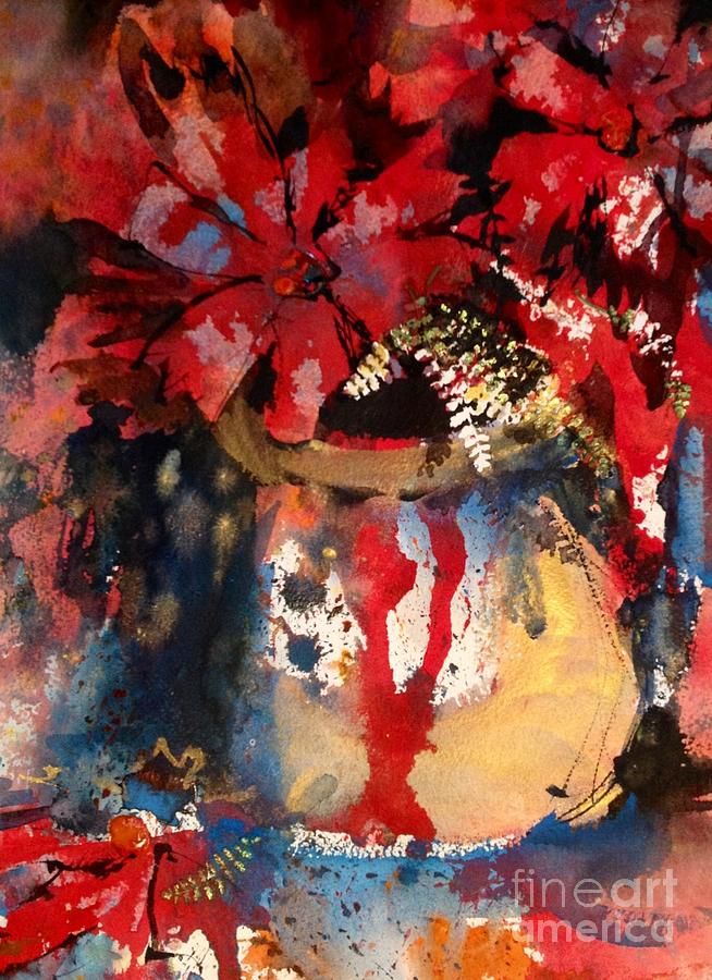 Watercolor Painting - Red Flowers In Gold by John Byram