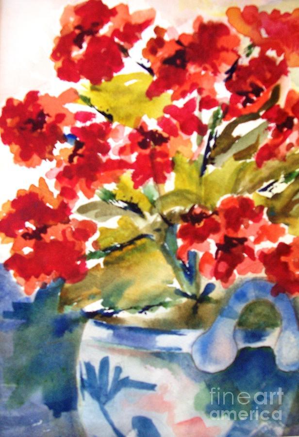 Red Flowers Painting by Sandi Stonebraker