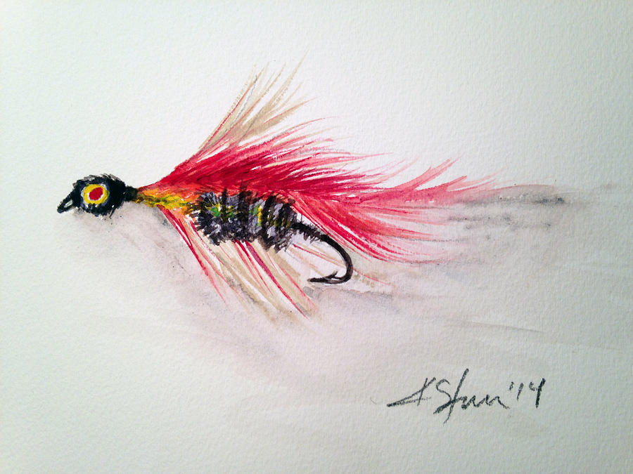 Fishing Painting - Red Fly Tie by Kathy Sturr