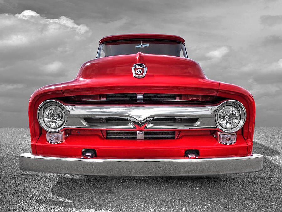 Red Ford F-100 Head On by Gill Billington