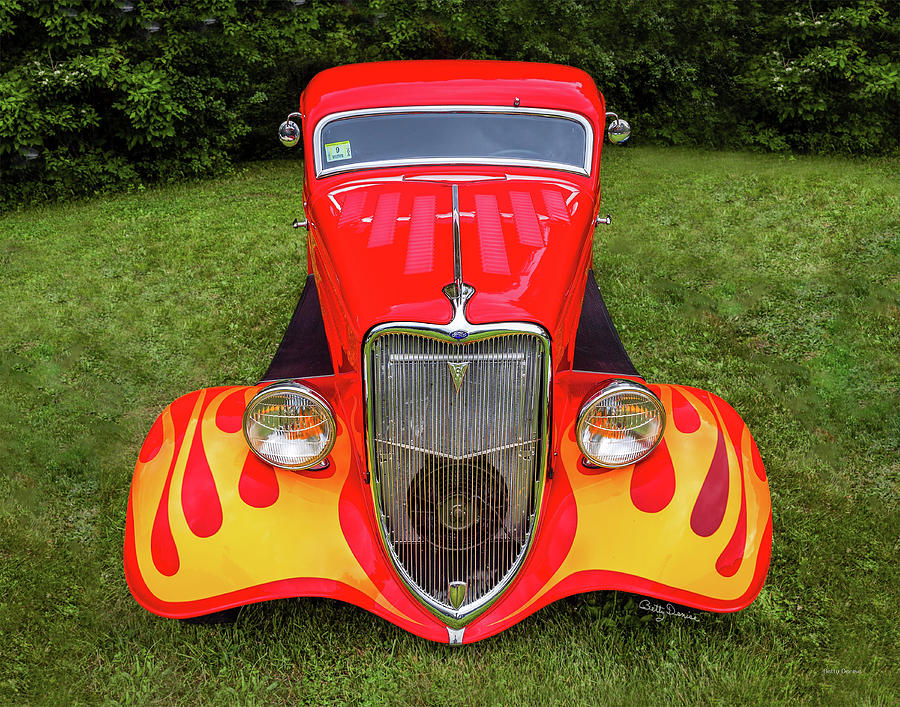 Red Ford Hot Rod with Flames by Betty Denise