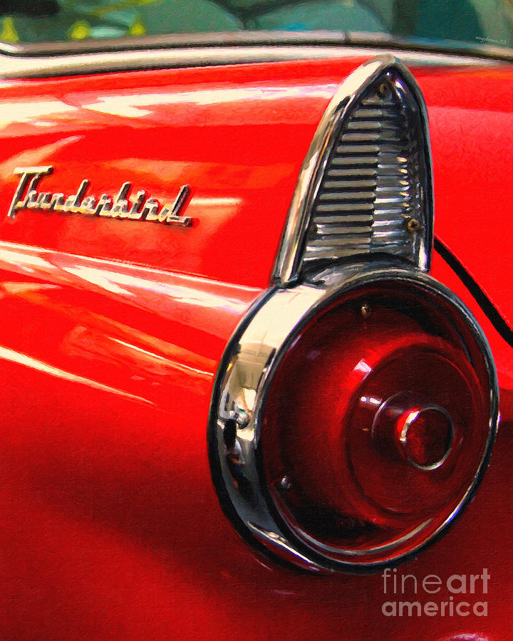 Transportation Photograph - Red Ford Thunderbird . Automotive Art Series by Wingsdomain Art and Photography