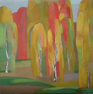 Red Forest Painting by Evgeny  Novoselov