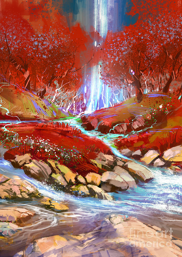 Red Forest Painting
