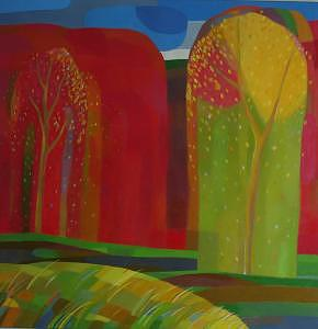 Red Forest With Grass Painting by Evgeny  Novoselov
