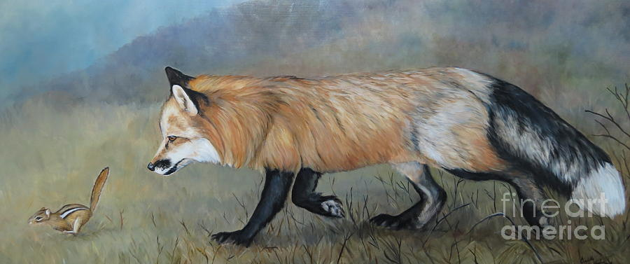 Red Fox Painting - Red Fox Encounter by Charlotte Yealey