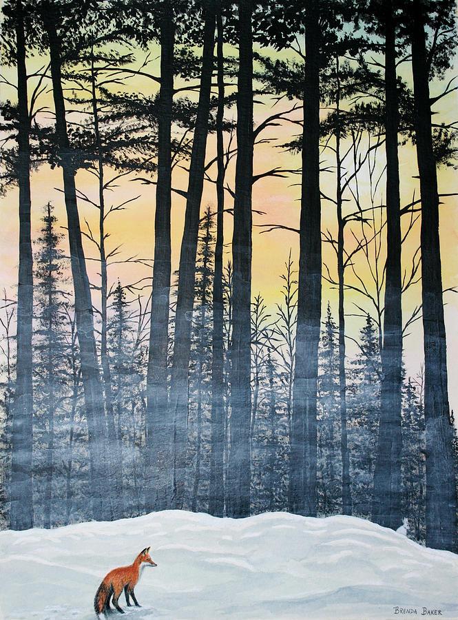 Woods Painting - Red Fox Morning Hunt by Brenda Baker