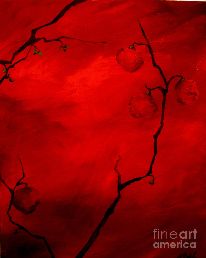 Red Painting - Red Fruit by Becka Noel