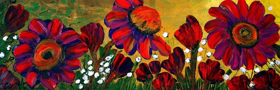 Flowers Painting - Red Garden by Luiza Vizoli