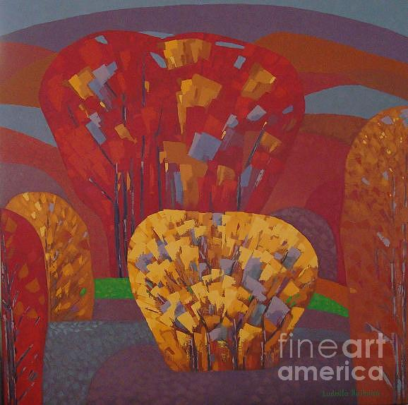 Fall Painting - Red Garden With Yellow Bush -2008 by Ludmila Kalinina