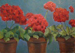 Red Flowers Painting - Red Geraniums by Brenda Williams