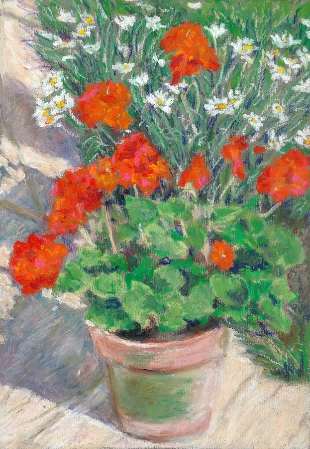 Flowers Pastel - Red Geraniums by Judy Adamson