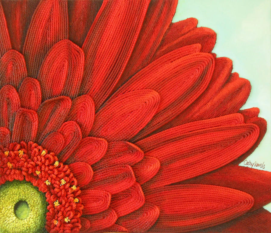 Daisy With Acrylic Painting