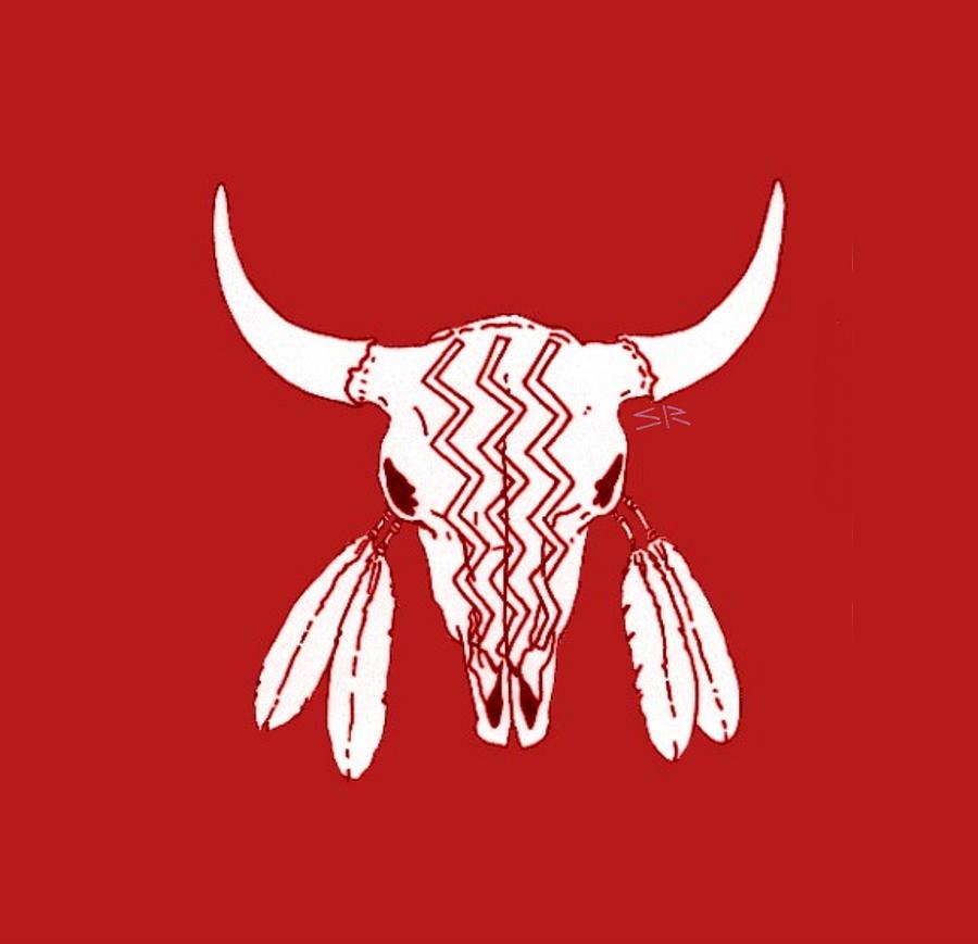 Ghost Dance Drawing - Red Ghost Dance Buffalo by Steamy Raimon