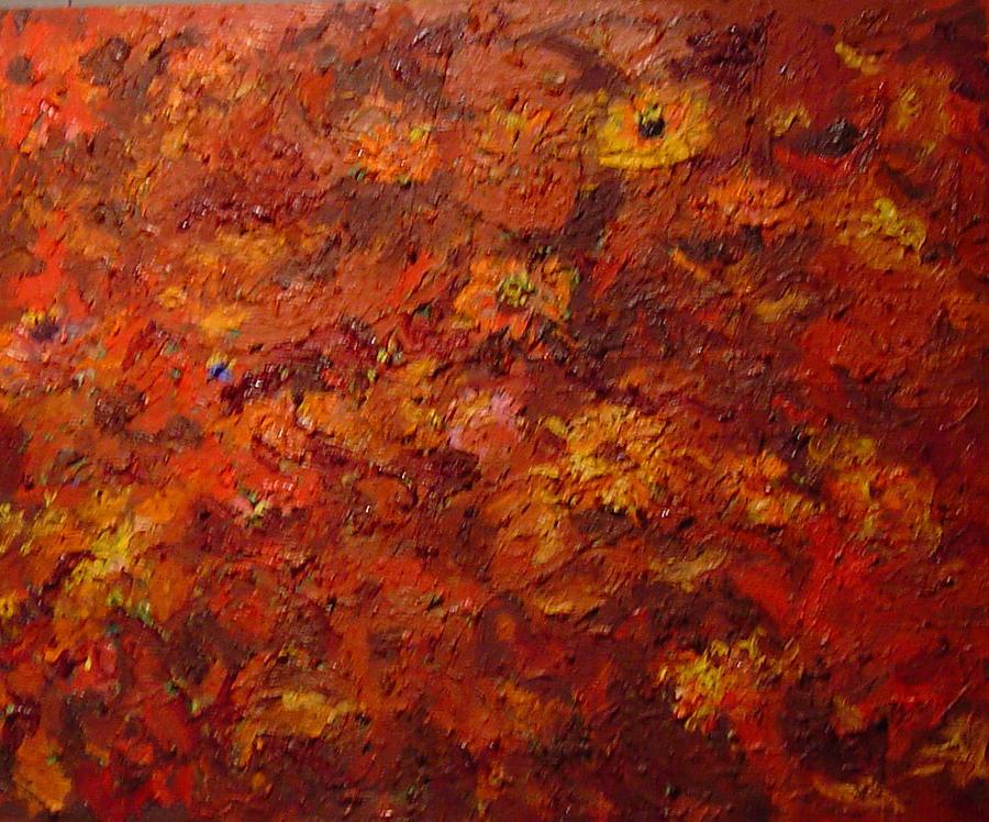 Zinnias Painting - Red Glory Of Zinnias by Pat Gray