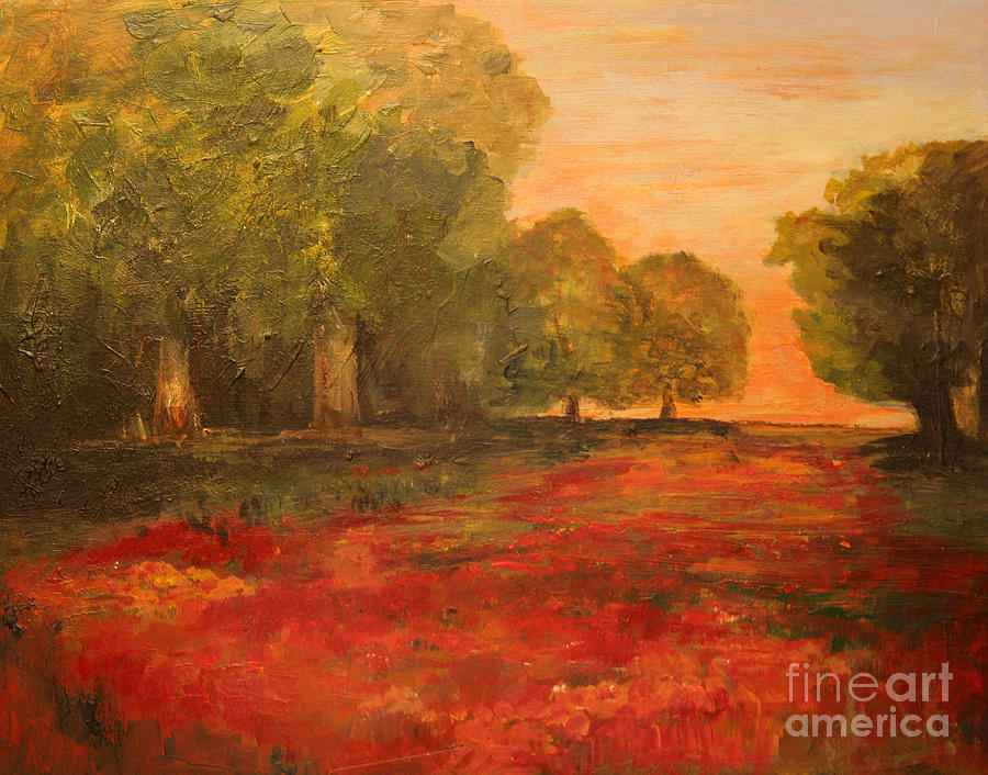Landscape Painting - Red Glow In The Meadow by Julie Lueders