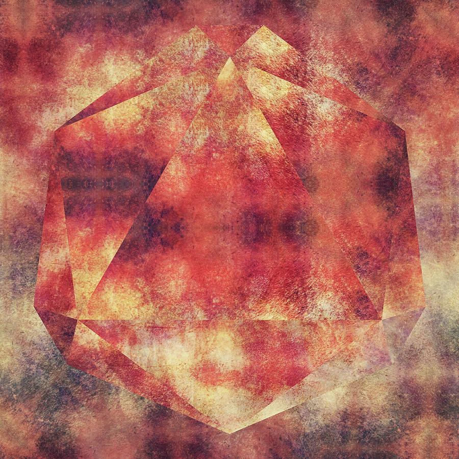 Brandi Fitzgerald Digital Art - Red Gold Abstract Geometric Triangles by Brandi Fitzgerald