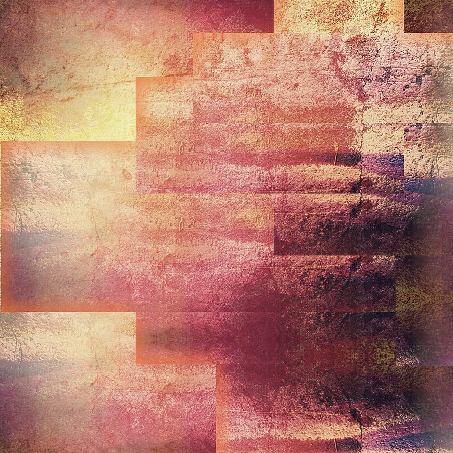 Brandi Fitzgerald Digital Art - Red Gold Abstract Textured Shapes by Brandi Fitzgerald