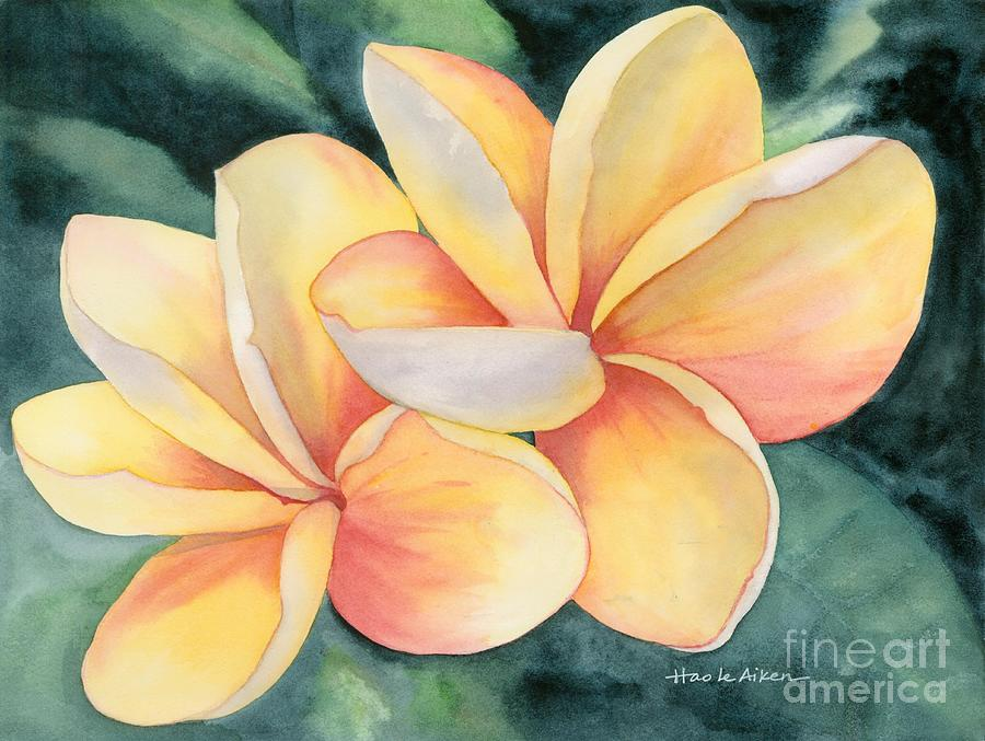 Red Gold - Plumeria Watercolor by Hao Aiken