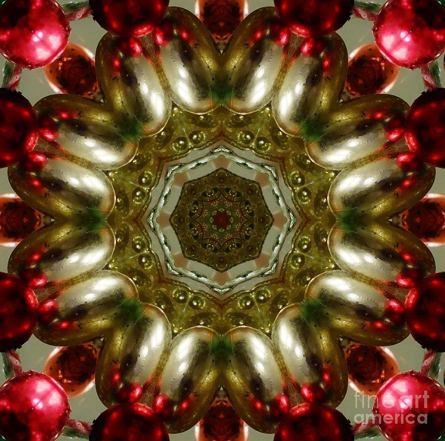 Kaleidoscope Digital Art - Red Gold Kaleidoscope 1 by Chandra Nyleen