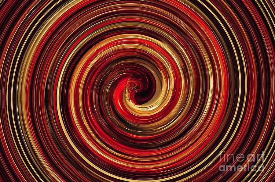 Spiral Digital Art - Have A Closer Look. Red-golden Spiral Art by Akshay Thaker-PhotOvation