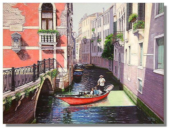 Architecture Painting - Red Gondola by I Joseph