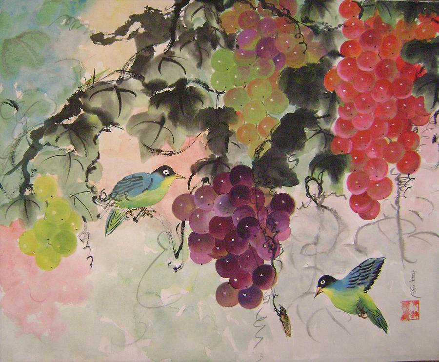 Water Colour Painting - Red Grapes And Blue Birds by Lian Zhen