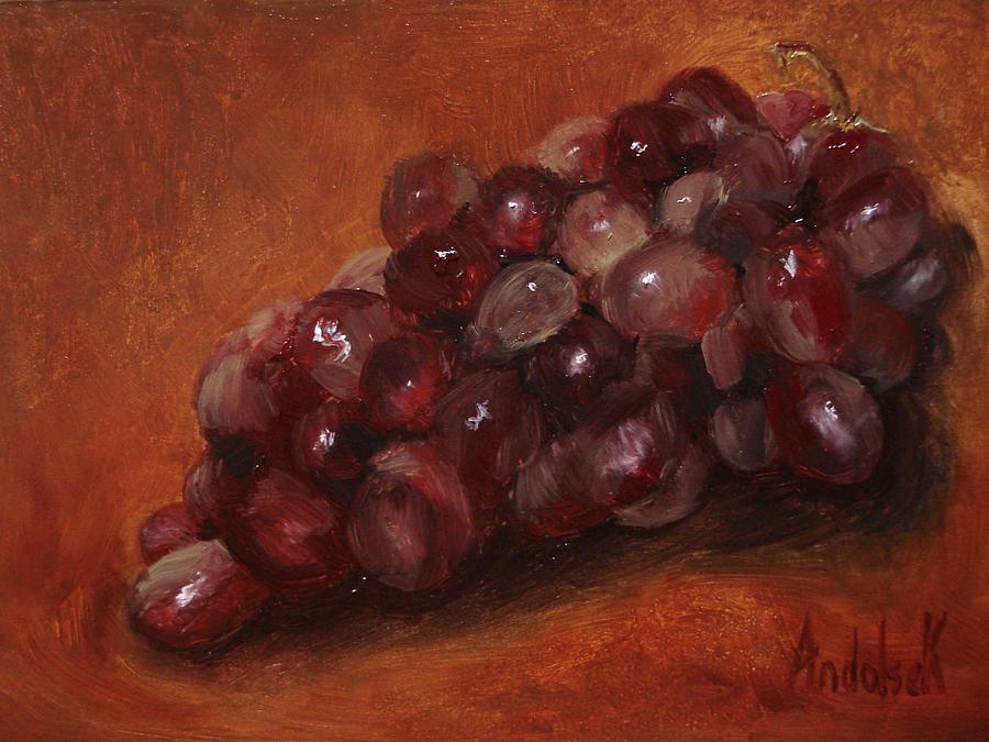 Fruit Painting - Red Grapes by Barbara Andolsek
