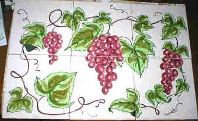 Ceramic Ceramic Art - Red Grapes Ceramic Tile Mural by Dy Witt