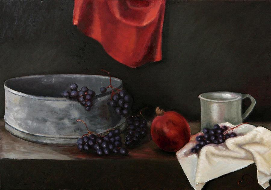 Red Grapes Painting by Raimonda Jatkeviciute-Kasparaviciene