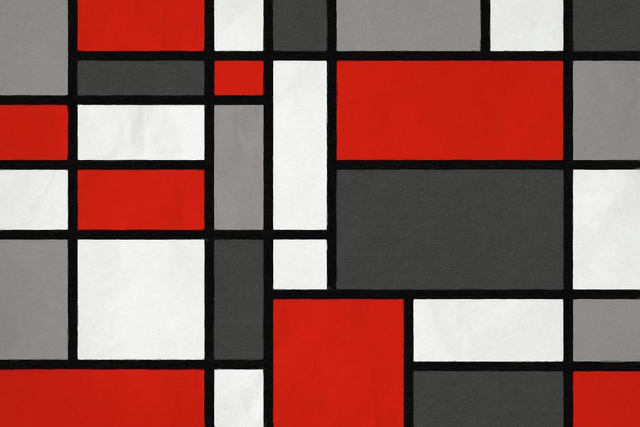 Mondrian Digital Art - Red Grey Black Mondrian Inspired by Michael Tompsett