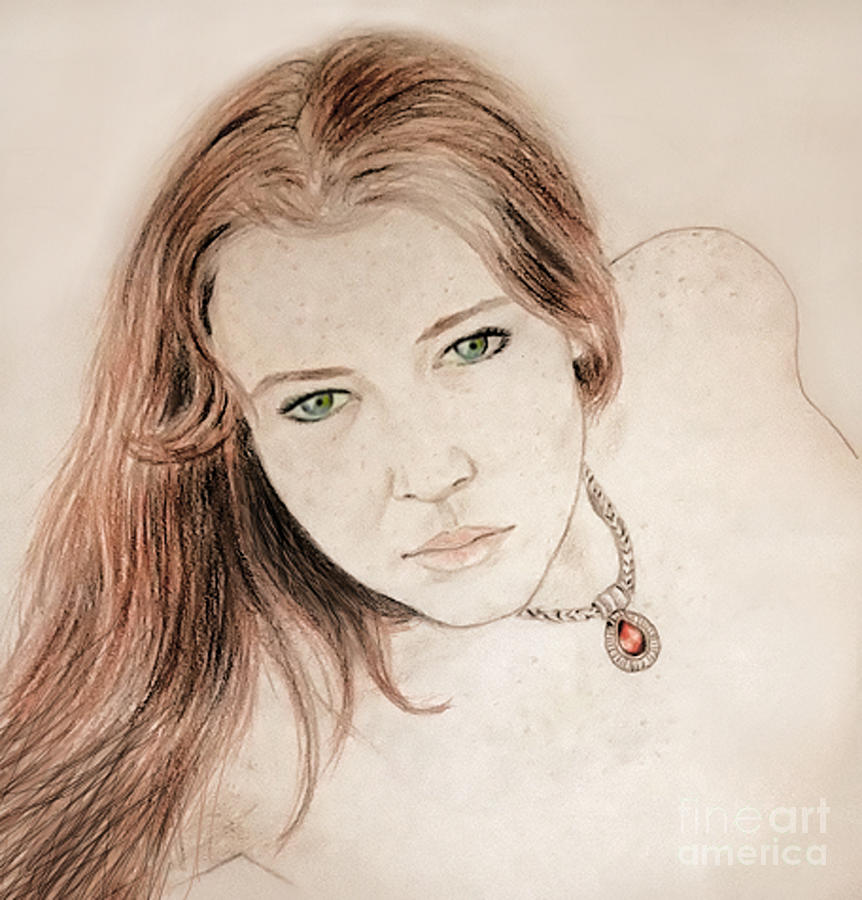 Drawing Drawing - Red Hair And Freckled Beauty by Jim Fitzpatrick