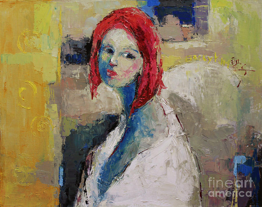 Oil Painting - Red Haired Girl by Becky Kim